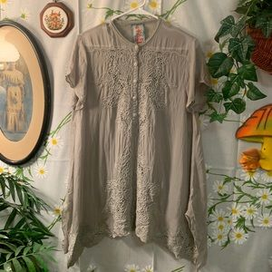 JOHNNY WAS embroidered grey tunic blouse